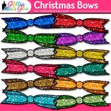 Christmas Ribbon Clip Art: Rainbow Glitter Bow Graphics 2 {Glitter Meets Glue}