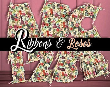 "Ribbons & Roses  98 pcs  - 300 DPI - PDF & PNGs - 3.5"" High, Vector PDF and PNGs"