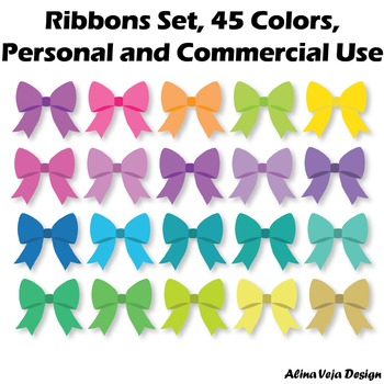Ribbons Set, 45 Colors, Personal and Commercial Use