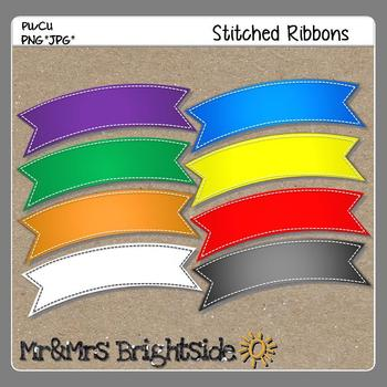 Ribbons with Stitches Clipart Freebie
