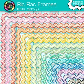 Ric Rac Frames Clip Art {Page Borders & Frames for Workshe