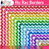 Ric Rac Border Clip Art {Rainbow Glitter Frames for Worksheets & Resources}