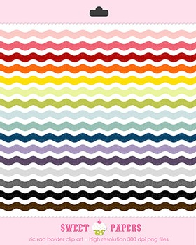 Ric Rac Rainbow Border Digital Clip Art Set - by Sweet Papers
