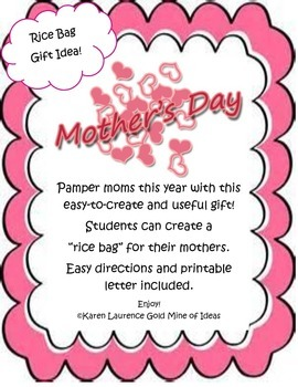 Rice Bag Craft Project for Mother's Day - Easy directions, printable FREE