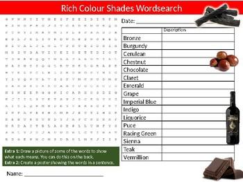 Rich Colour Shade Names Wordsearch Sheet Starter Activity Keywords Art Paint