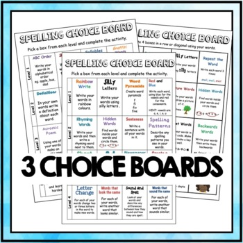 Spelling Choice Boards - Spelling Activities Pack