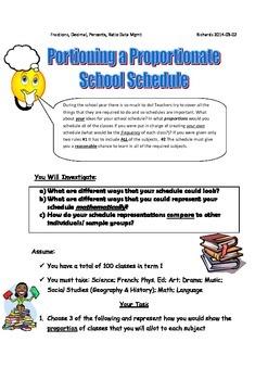 Rich Summative Task: Fractions - Percents - Ratios - Creating a School Schedule