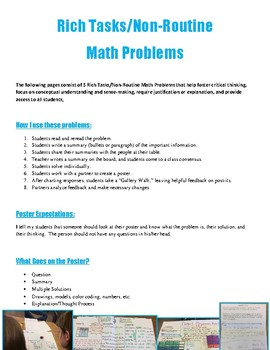 Rich Tasks/Non-Routine Math Problems