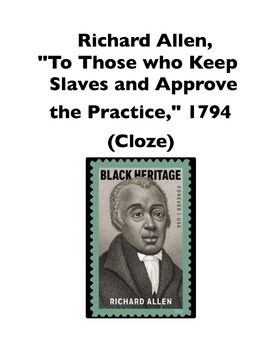 """Richard Allen, """"To Those that Keep Slaves and Approve"""" (Full-Text Cloze)"""