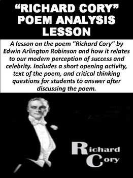 richard cory poem analysis on success by mz s english teacher tpt richard cory poem analysis on success