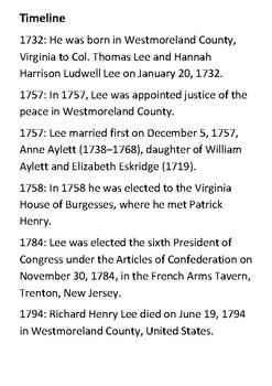 Richard Henry Lee Handout