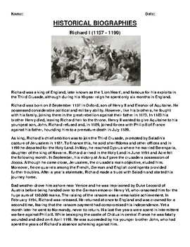 Richard I Biography Article and (3) Assignments