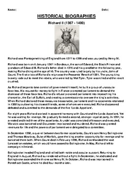 Richard II  Biography Article and (3) Assignments