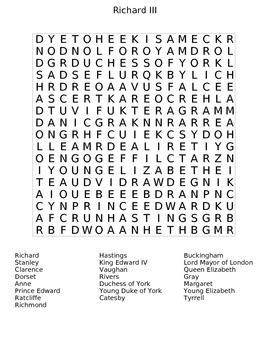 Richard III Word Search