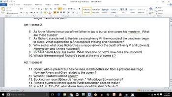 Richard III Study Guide, Act 3 Quiz, & Final Test