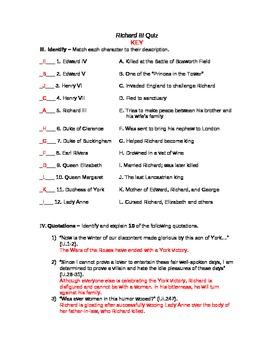 Richard III Unit Exam