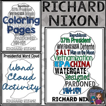 Richard Nixon Coloring Page and Word Cloud Activity