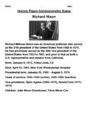 Richard Nixon Commemorative Postage Stamp Worksheet and Webquest