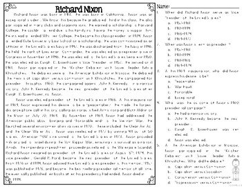 Richard Nixon Differentiated Reading Passages & Questions
