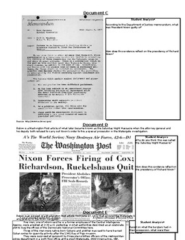 Richard Nixon Document-Based Questions and Open-Ended Response