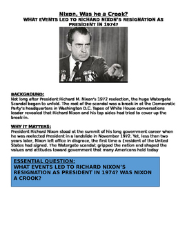 Richard Nixon: Was he a Crook? Readings, Activities, & more -Nixon's Rise /Fall