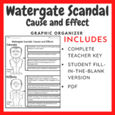 Richard Nixon Watergate Scandal: Cause and Effect Graphic Organizer