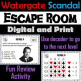 Richard Nixon and the Watergate Scandal: Escape Room - Social Studies