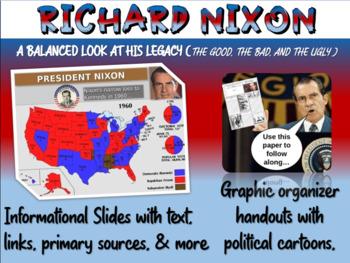 Richard Nixon: cartoons, watergate, foreign/domestic legacy PPT & handout