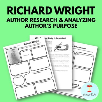 Richard Wright - Author Study Worksheet, Author's Purpose, Author Research, Bio
