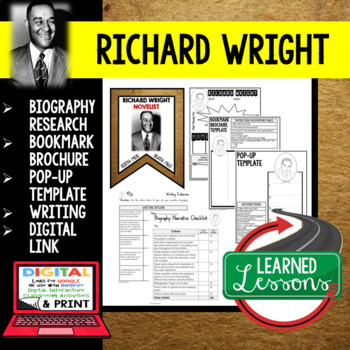 Richard Wright Biography Research, Bookmark Brochure, Pop-Up, Writing