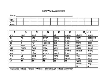Richardson Sight Word Assessment Tool