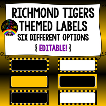Richmond Tigers Themed Labels {Editable!}