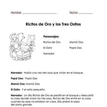 Spanish Reader's Theater-Ricitos de Oro y los Tres Osos (T