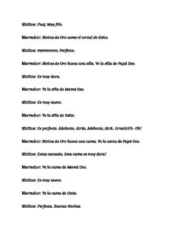 Ricitos de Oro y los Tres Osos TPRS script and activities