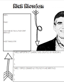 Rick Riordan Author Study, Percy Jackson Activity, Riordan Author Bio
