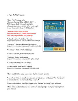 Rick Steves Germany Benelux and More * Film-Fragen For German Class