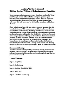 Ridding Student Writing of Redundancy and Repetition