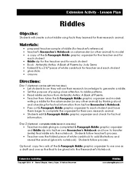 Riddle Extension Activity - Researcher's Notebook