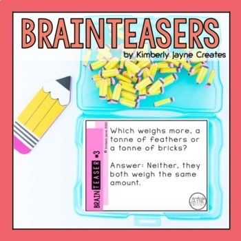 Riddle Me This: Brain Teasers - Riddles on Cards (Great for Relief Teaching)