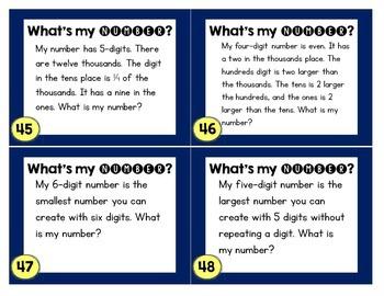 48 number sense task cards problem solving riddles for place value. Black Bedroom Furniture Sets. Home Design Ideas