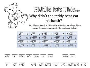 Riddle Me This... Simplifying Radicals Easy