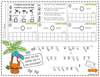 Riddle Practice Pages...  Comparing Numbers...  4.NBT.2 Part 2
