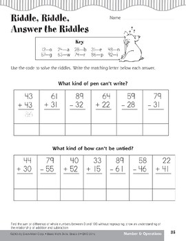 Riddle, Riddle, Answer the Riddle (Addition/Subtraction Relationship)