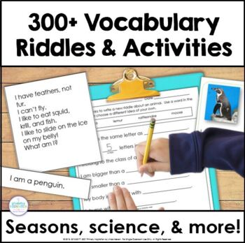 Seasonal and Thematic Vocabulary Riddles, Games, and Writing Bundle