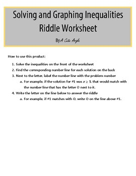 riddle solving and graphing inequalities worksheet version - Solving And Graphing Inequalities Worksheet