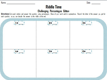 Riddle Time- Challenging Percent Stations Activity