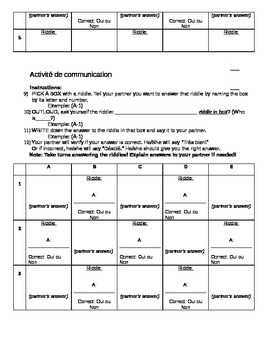 Riddle communication activity with family vocabulary