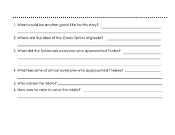 Greek Mythology Story: RIDDLE OF THE SPHINX w/ 6 Reading Comprehension Questions