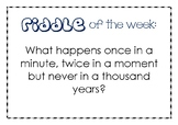 Riddle of the Week (Display Posters)