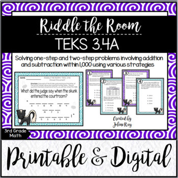Riddle the Room: Addition and Subtraction to 1,000: TEKS 3.4A